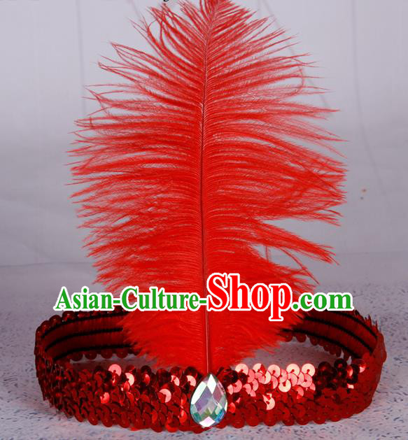 Top Grade Catwalks Headwear Halloween Cosplay Hair Accessories Red Feather Hair Clasp