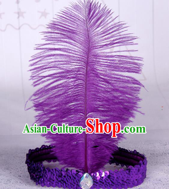 Top Grade Catwalks Headwear Halloween Cosplay Hair Accessories Purple Feather Hair Clasp