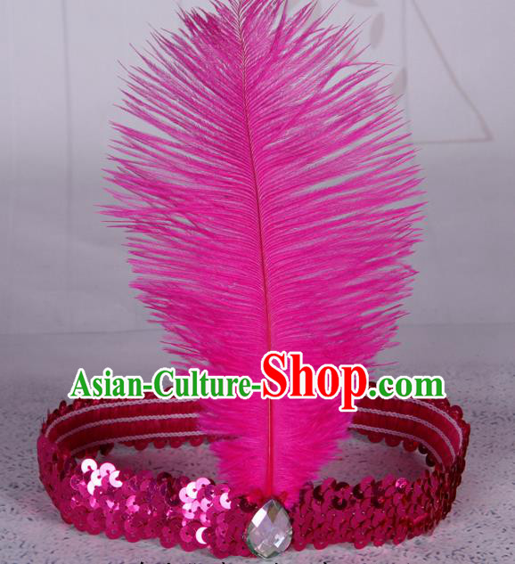 Top Grade Catwalks Headwear Halloween Cosplay Hair Accessories Rosy Feather Hair Clasp