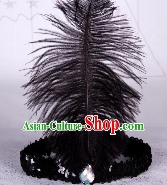 Top Grade Catwalks Headwear Halloween Cosplay Hair Accessories Black Feather Hair Clasp