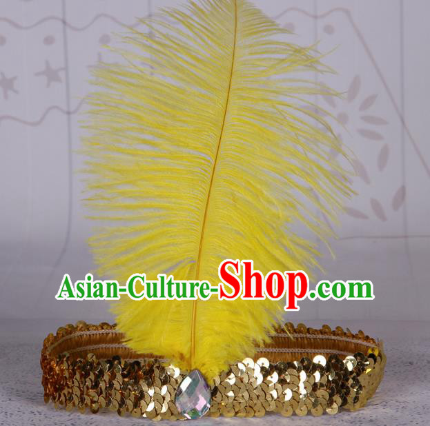 Top Grade Catwalks Headwear Halloween Cosplay Hair Accessories Yellow Feather Hair Clasp