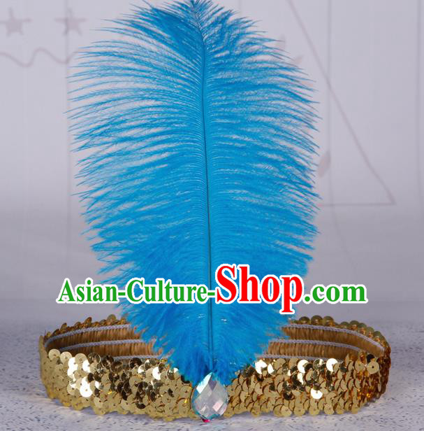Top Grade Catwalks Headwear Halloween Cosplay Hair Accessories Blue Feather Hair Clasp