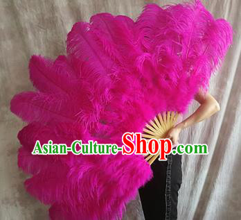 Top Grade Rosy Feather Fans Halloween Cosplay Folding Fans Belly Dance Fan