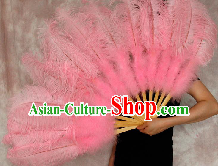 Top Grade Pink Feather Fans Halloween Cosplay Folding Fans Belly Dance Fan