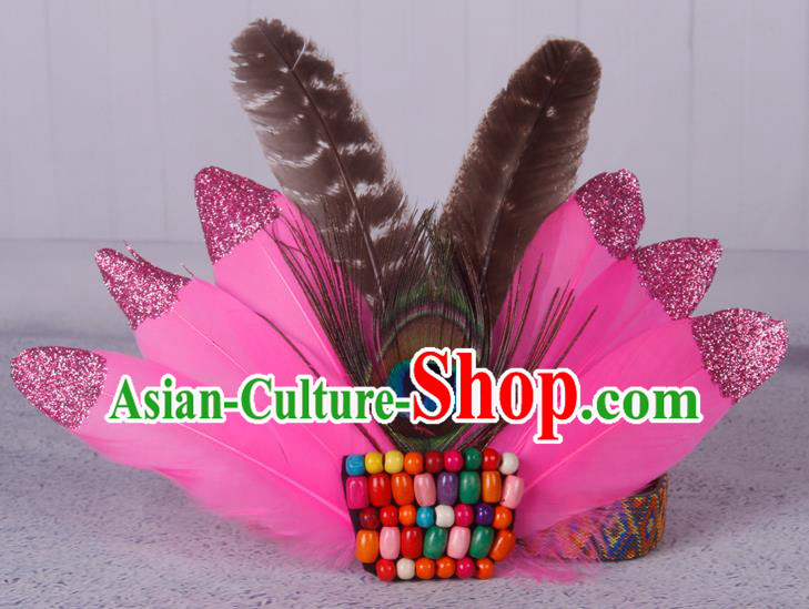 Halloween Catwalks Pink Feather Hair Accessories Cosplay Primitive Tribe Feather Hair Clasp for Kids