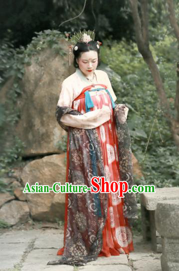 Chinese Ancient Imperial Consort Red Hanfu Dress Tang Dynasty Palace Embroidered Costumes for Women