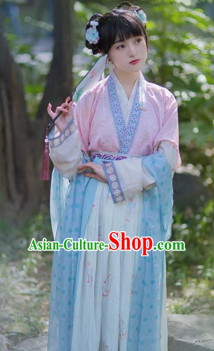 Chinese Ancient Nobility Lady Hanfu Dress Traditional Song Dynasty Court Princess Embroidered Costumes for Women