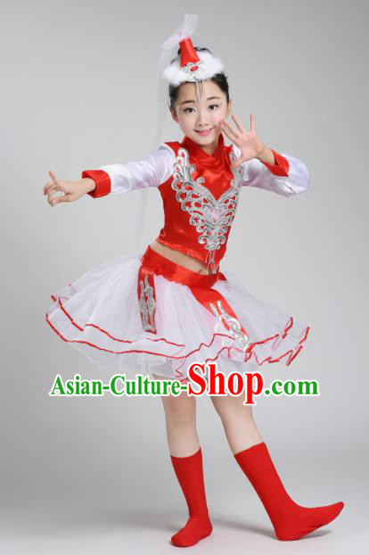 Chinese Mongolian Ethnic Costumes Traditional Mongol Nationality Folk Dance Dress for Kids