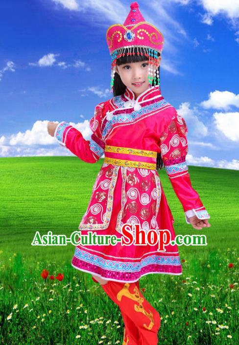 Chinese Mongolian Ethnic Costumes Traditional Mongol Nationality Folk Dance Rosy Dress for Kids