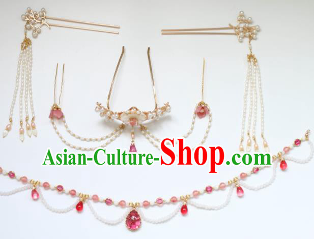 Chinese Traditional Handmade Hair Accessories Ancient Hair Crown Pearls Hairpins Complete Set for Women