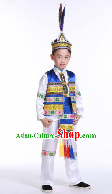 Chinese Ethnic Costumes Traditional Yi Nationality Boys Folk Dance Blue Clothing for Kids