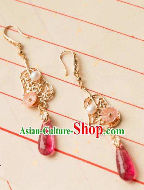 Traditional Chinese Handmade Red Agate Earrings Ancient Eardrop Accessories for Women