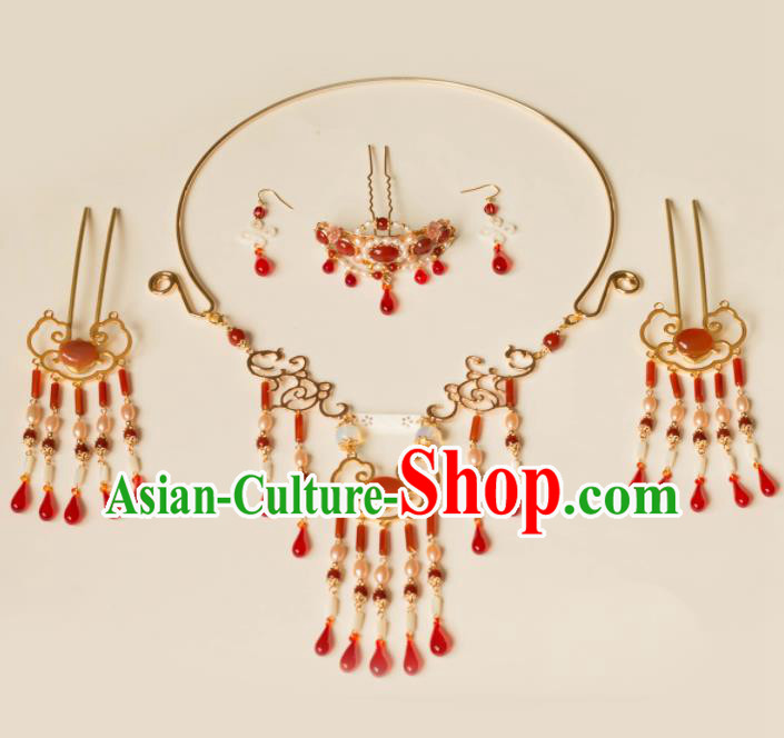 Chinese Traditional Handmade Hair Clip Agate Hair Accessories Ancient Hairpins and Necklace for Women