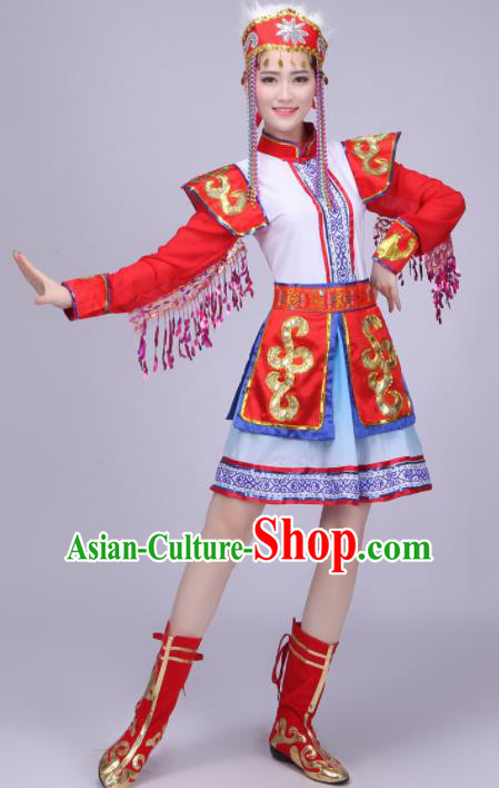 Chinese Traditional Mongolian Ethnic Costumes Mongol Nationality Folk Dance Red Dress for Women