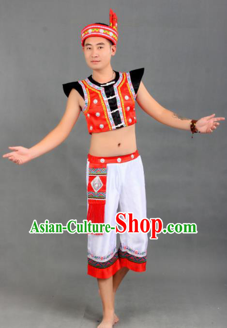 Chinese Traditional Dai Ethnic Costumes Dai Nationality Folk Dance Clothing for Men