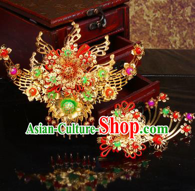 Chinese Traditional Handmade Hair Combs Wedding Hair Accessories Ancient Bride Hairpins Complete Set for Women