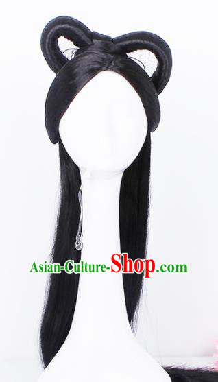 Traditional Chinese Handmade Hair Accessories Wigs Sheath Ancient Peri Princess Chignon for Women