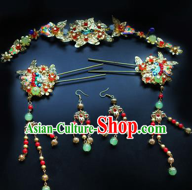 Chinese Traditional Handmade Hairpins Hair Accessories Ancient Wedding Bride Hair Clasp for Women