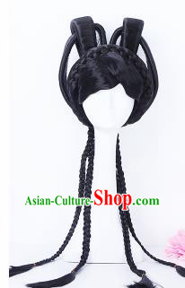 Traditional Chinese Drama Princess Wigs Sheath Ancient Peri Handmade Chignon Hair Accessories for Women