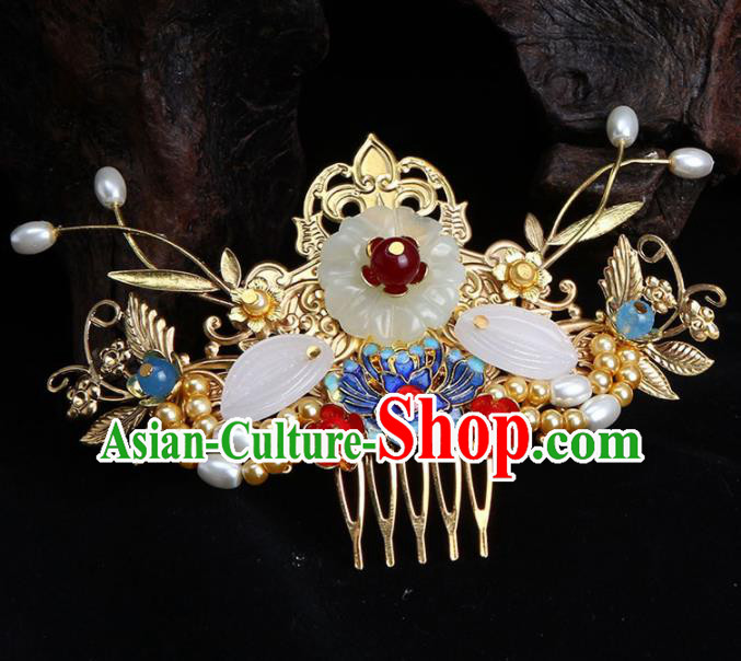 Chinese Traditional Handmade Blueing Lotus Hair Comb Hairpins Ancient Empress Headwear for Women