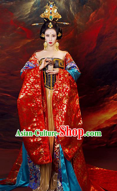 Chinese Ancient Cosplay Queen Replica Costumes Traditional Tang Dynasty Empress Hanfu Dress and Headpiece for Women
