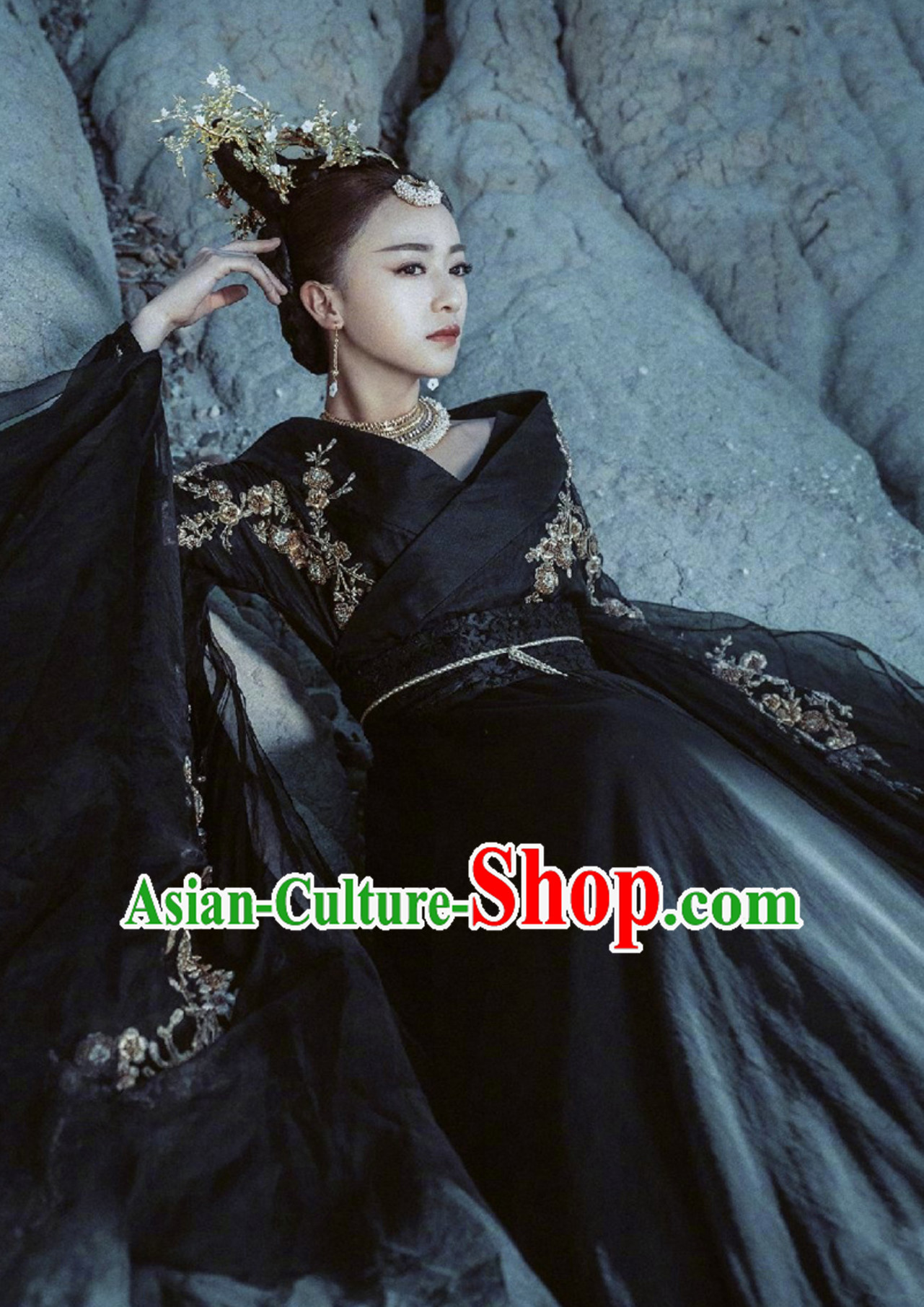 Black Ancient Chinese Classical Da Ji Costume Han Zhuang Hanfu Clothing
