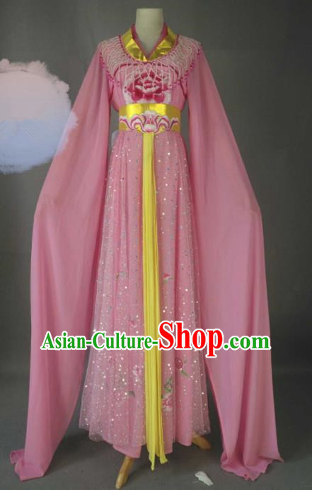 Chinese Traditional Peking Opera Princess Pink Costumes Ancient Fairy Dress for Adults