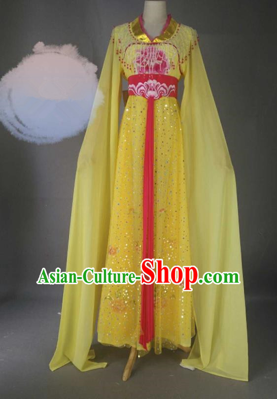 Chinese Traditional Peking Opera Princess Yellow Costumes Ancient Fairy Dress for Adults