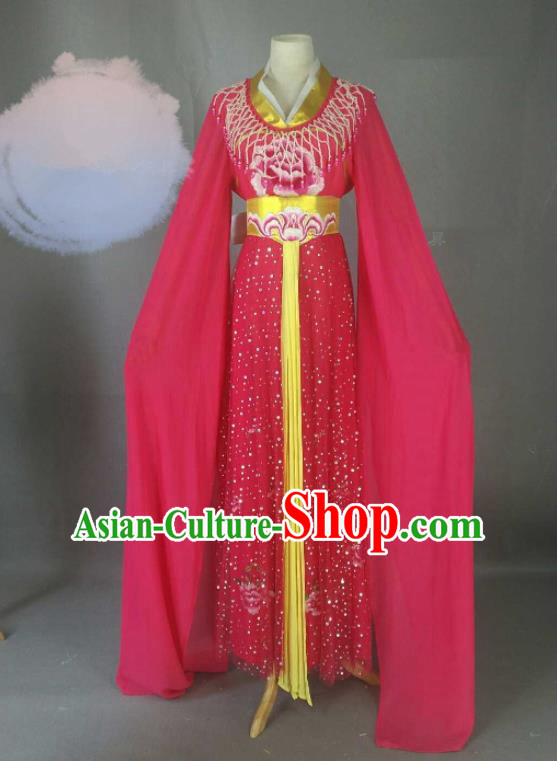 Chinese Traditional Peking Opera Princess Rosy Costumes Ancient Fairy Dress for Adults