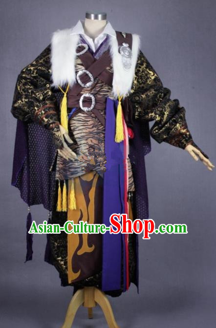 Asian Chinese Cosplay Blade Swordsman Costumes Ancient Royal Highness Clothing for Men