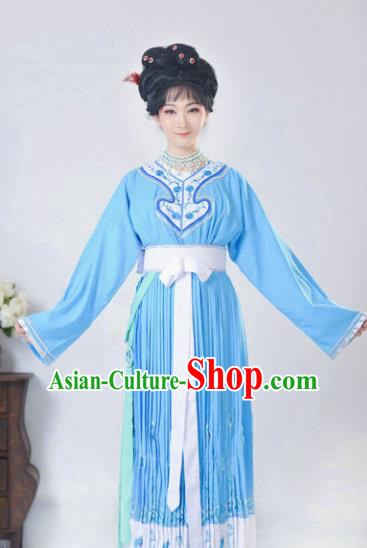 Chinese Traditional Peking Opera Actress Costumes Ancient Young Lady Blue Dress for Adults