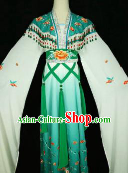 Chinese Traditional Peking Opera Costumes Ancient Nobility Lady Green Dress for Adults