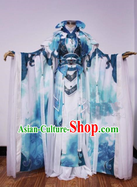 Asian Chinese Cosplay Swordsman Costumes Ancient Royal Highness Clothing for Men