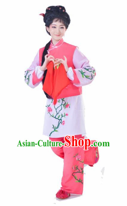 Chinese Traditional Peking Opera Mui Tsai Pink Costumes Ancient Young Lady Dress for Adults