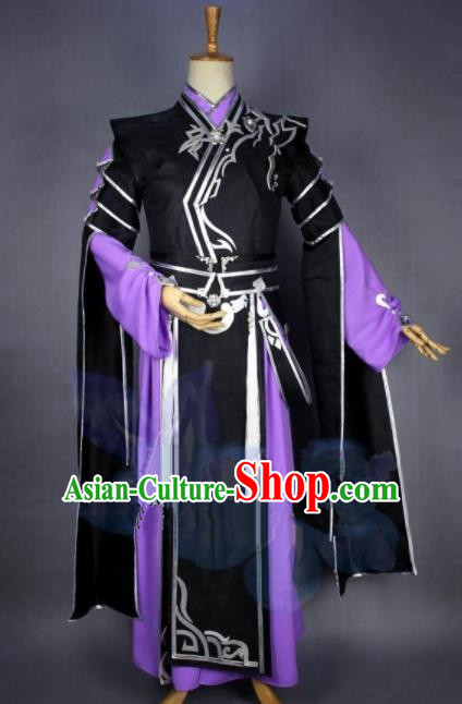 Asian Chinese Cosplay Swordsman Black Costumes Ancient Royal Highness Clothing for Men