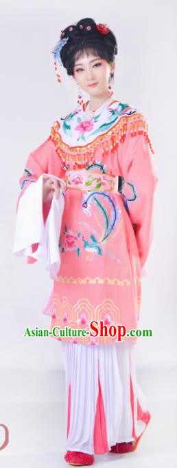 Chinese Traditional Peking Opera Queen Costumes Ancient Empress Pink Dress for Adults