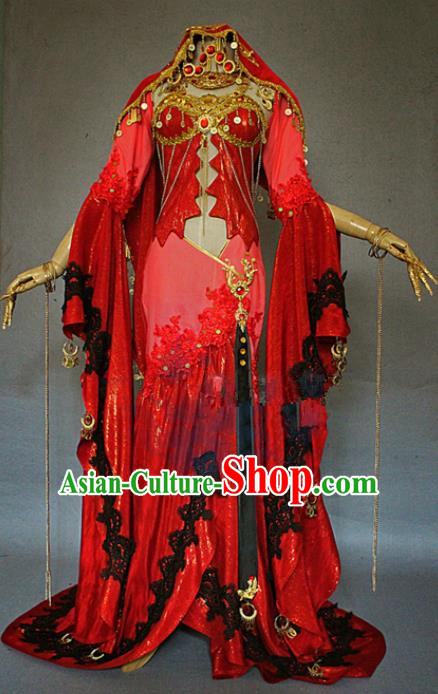 Asian Chinese Cosplay La Bayadere Red Costumes Ancient Swordswoman Dress Clothing for Women