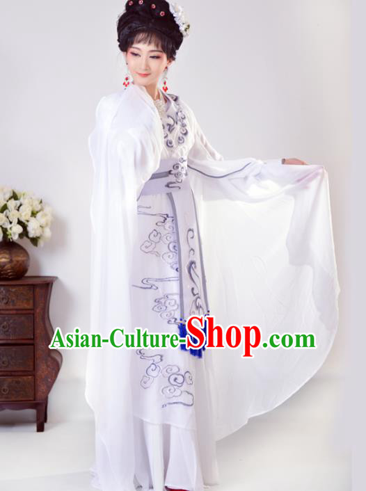 Chinese Traditional Peking Opera Princess White Costumes Ancient Beijing Opera Diva Clothing for Adults