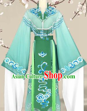 Chinese Traditional Peking Opera Diva Princess Costumes Ancient Beijing Opera Green Dress for Adults