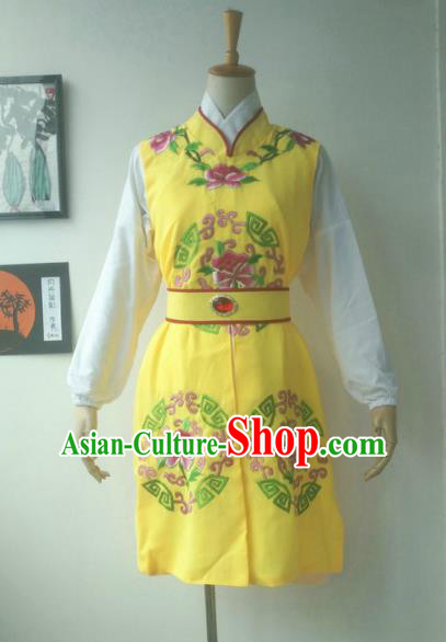Chinese Traditional Peking Opera Niche Costumes Yellow Vest for Adults