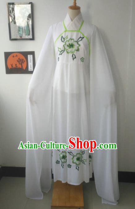 Chinese Traditional Peking Opera Princess Costumes Ancient Fairy Embroidered Green Flowers Dress for Adults