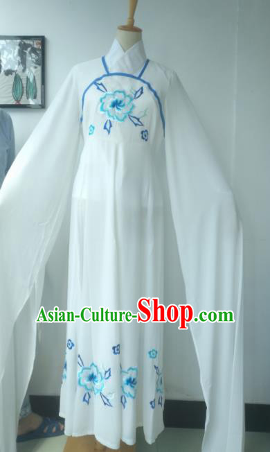 Chinese Traditional Peking Opera Princess Costumes Ancient Fairy Embroidered Blue Flowers Dress for Adults