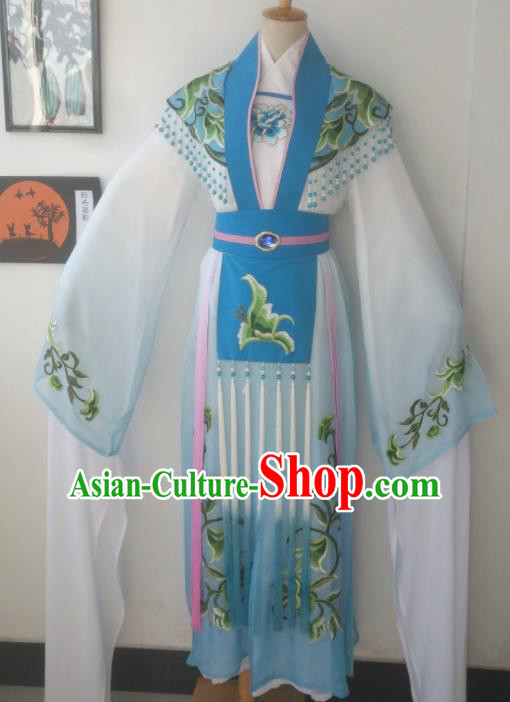 Chinese Traditional Peking Opera Actress Costumes Ancient Imperial Concubine Embroidered Blue Dress for Adults