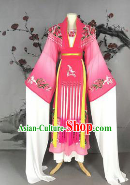 Chinese Traditional Peking Opera Actress Costumes Ancient Imperial Concubine Embroidered Rosy Dress for Adults