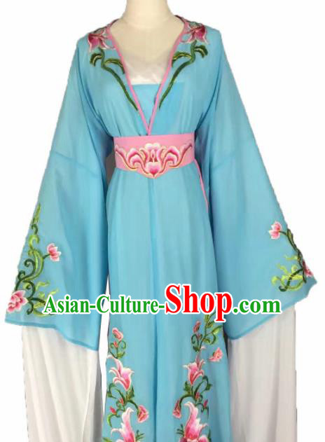 Chinese Traditional Peking Opera Actress Costumes Ancient Maidservants Blue Dress for Adults