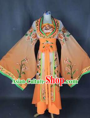 Chinese Traditional Peking Opera Actress Costumes Ancient Palace Princess Orange Dress for Adults
