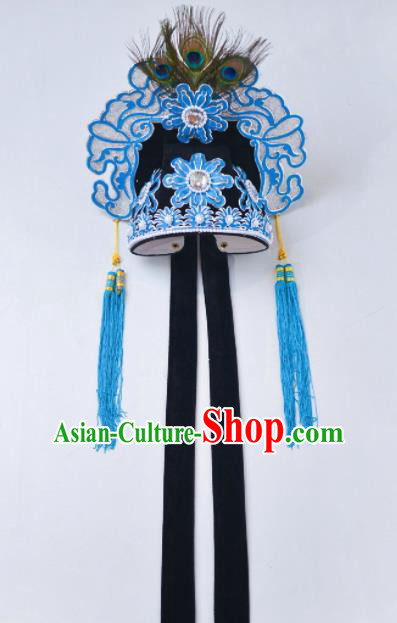 Chinese Traditional Peking Opera Niche Scholar Black Hat Headwear for Adults