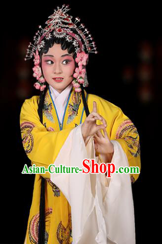 Chinese Traditional Peking Opera Pantaloon Costumes Ancient Dowager Countess Yellow Dress for Kids