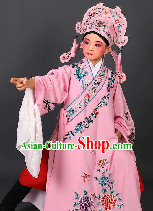 Chinese Traditional Peking Opera Niche Costume Ancient Scholar Pink Robe and Hat for Kids