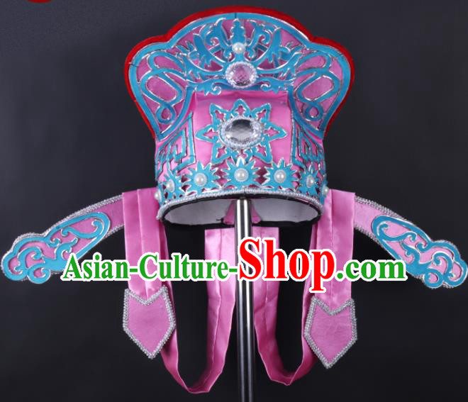 Chinese Traditional Peking Opera Niche Pink Hat Ancient Gifted Scholar Headwear for Adults